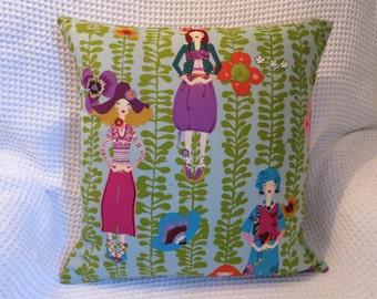 1970s 'dollybirds' cushion cover. Retro.  Handmade.  Designer fabric.