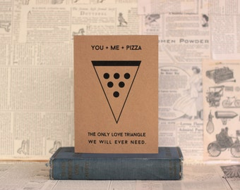 Hilarious Pizza Valentine : Love Triangle, Recycled Kraft Paper Card