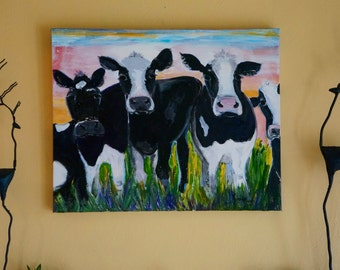 Cows Original art, dairy cows,reduced SHIPPING;Wall art, Home decor;  living room art;  cow art; Cow painting;  wall decor; wall accessories
