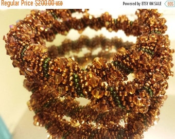 Seed Bead Embroidery Necklace, Handmade OOAK, Seed Bead Embroidered Necklace