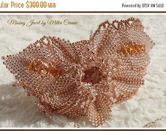 Flower Seed Bead Woven Bracelet Seed Bead Embroidery Bracelet Statement Bracelet