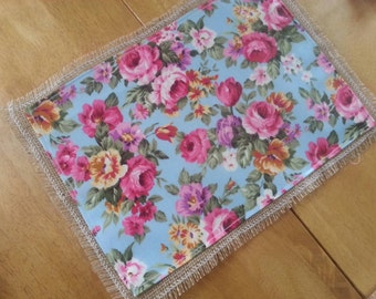 Hessian and oilcloth placemats
