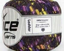 Metallic Green, Purple, Lilac, Silver Ladder yarn, Mardi Gras Carnival trellis yarn, ladder ribbon yarn,164 yards, Ice Yarn #41721