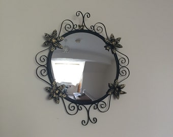 Retro Black Mirror With Metal Surround