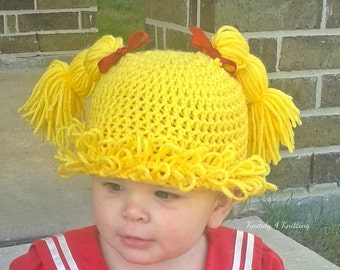 Cabbage Patch Wig, Yarn Wig, Crochet Wig, Doll Wig, Cabbage Patch Costume, Halloween Wig, Gifts for Baby Girls, Baby Shower Gifts, Gag Gifts