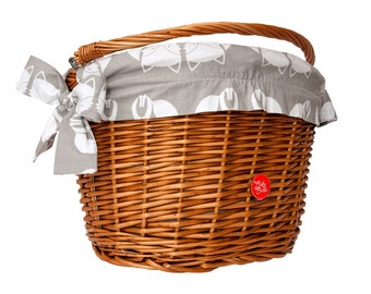 Classic Wicker Bike Basket with liner Fox, Bike Belle