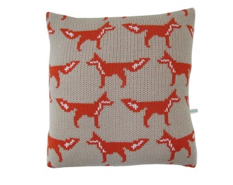 Fox Knitted Cushion Cover