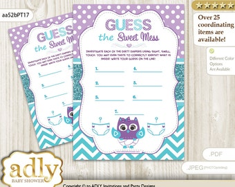 Girl Owl Dirty Diaper Game, Guess Sweet Mess for Baby Shower Printable Card for Baby Owl Shower DIY Teal Purple Chevron-aa52bPT17