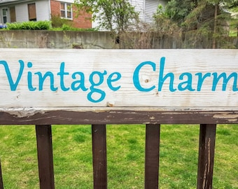 Vintage Charm Sign, Vintage Sign, Wooden Vintage Sign, Vintage Decor, Wooden Signs, Vintage Gifts, Wooden Signs, Home Decor, Vintage Love