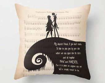 """The Nightmare Before Christmas Throw Pillow Cover Jack and Sally """"My dearest friend"""" Quote Pillow New Jack and Sally Pillow Home Decor Gift"""