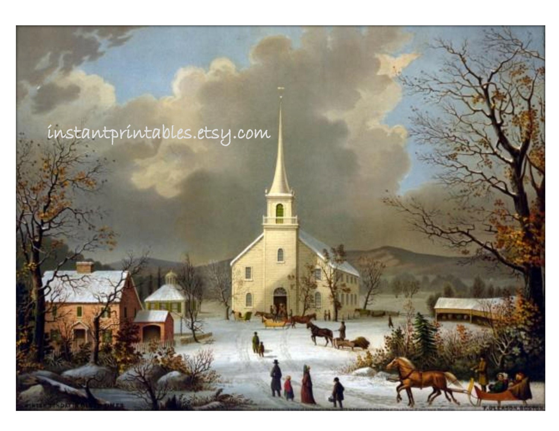 Sale Winter Scene Snow Landscape Vintage Church 8x10 Art Print