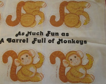 Vintage Barrel of Monkeys Fabric Pillow Toy Quilt Block