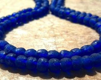 30 Small Indigo Blue African Recycled Glass Beads,Glass Beads,Blue African Beads,8 mm Ghana Recycled Glass Beads, Krobo Beads African Beads