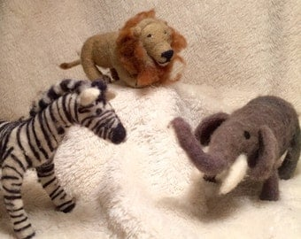Kit: Needle Felted Safari.... Elephant, Lion, Zebra, Giraffe