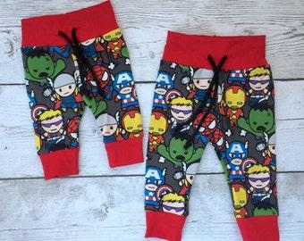 Superhero leggings, avengers, baby leggings, joggers, Hipster leggings, Baby Pants, drawstring leggings, marvel leggings