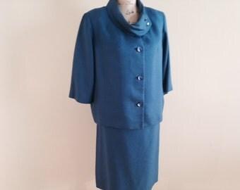 Vintage Ann Murray, Cobalt Blue, Virgin wool suit, 1960's