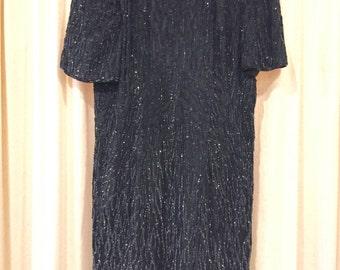 VINTAGE SEQUIN DRESS - beaded drama - 80s vintage - black - coacktail - medium