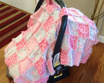 Car Seat Cover/Canopy - Pink & Grey Bunnies and Flowers Print - Cotton Flannel Rag Quilt