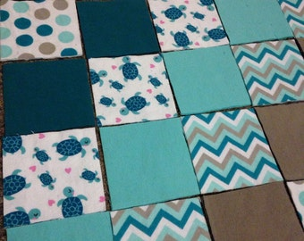 KIT or PRE-BUY Car Seat Cover/Canopy or Quilt - Teal & Grey Turtles, Dots and Zags Prints - Cotton Flannel Rag Quilt