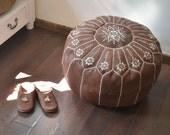 "BROWN  20""x13"" // Moroccan pouf ottoman // round embroidery L //OTMR02_RL"