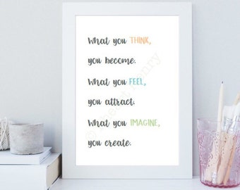 A4 print gift, motivational, inspirational positive quote buddha