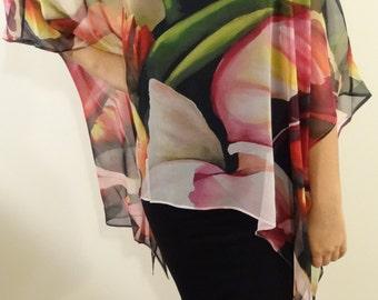 Sale! Resort Shirt, For Her, Wedding, Sheer Silk Shirt, ONESIZE