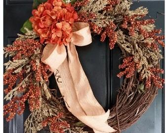ORANGE Berry Wreath with pumpkin orange hydrangea and cream heather, fall wreath, home decor, front door wreath