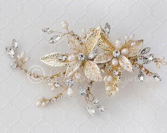 Wedding Clip of Texture Petals Leaves in Light Gold Ivory Freshwater Pearls  Marquise Crystals