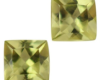 Hebei Peridot Loose Gemstones Set of 2 Cushion Cut 1A Quality 4mm TGW 0.60 cts.