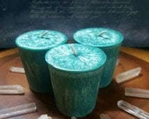 Undine Crystal Wax Votives-1 Hand Poured Teal Crystal Wax Votive Scented With My Oceanic Undine Perfume-Cool, Calm, & Flowing Fragrance