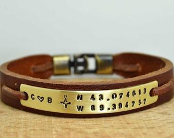 Custom Coordinates,Mens Bracelet,Personalized Men Bracelet,Anniversary Gift For Men,Coordinate Bracelet,Custom GPS Bracelet,Valentines Day
