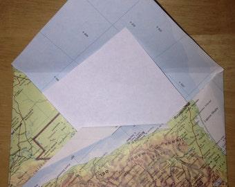 5 World Map Paper Envelopes, Atlas, Upcycled, OOAK Bon Voyage Wedding Party