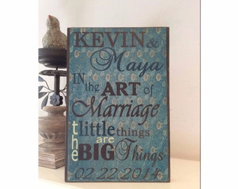 Wooden Wedding Sign  or Art Print - In the Art of Marriage ~ Can Customize ~ FREE SHIPPING