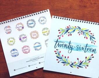 REDUCED PRICE - 2016 Watercolour Floral Wall Calendar with hand lettering - Options for a Sunday or Monday starting calendar