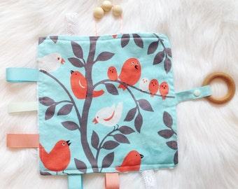 Baby Teething/Sensory Toy, Maple Wood Teething Toy, Newborn gift,  Bird Theme