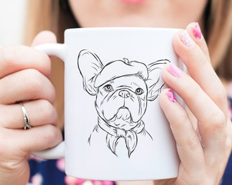 Pierre French Bulldog Dog Mug - Gift For Dog Owner, French Bulldog, Bulldog Mug, French Bulldog Art, French Bulldog Gift, Frenchie Gift