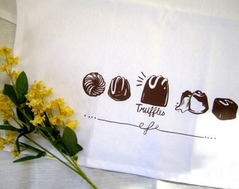 Truffles! White Cotton Tea Towel