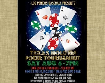 Poker Tournament Texas Hold Em Invitation Poster / Template Church School Community Gambling Flyer / Fundraiser Poster Vegas Chips Cards