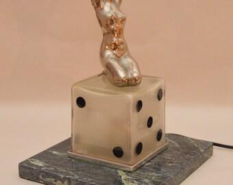 Rare large Art Deco chrome metal nude figural glass dice lamp – circa 1940