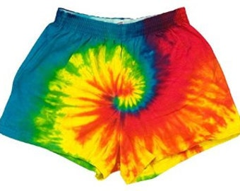 Rainbow Tie dye short shorts festival or rave clothing