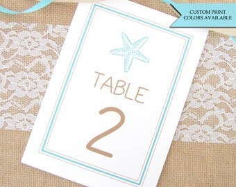 Beach wedding table numbers - Wedding table numbers - Starfish table numbers - Beach table numbers - Table numbers wedding