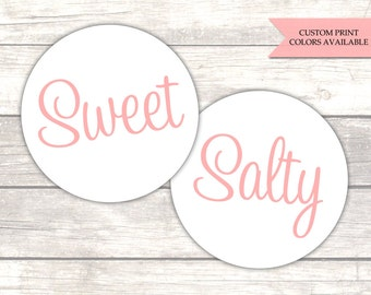 Sweet and salty stickers - His and hers stickers - Popcorn stickers - Wedding labels - Wedding welcome bag stickers (RW084)