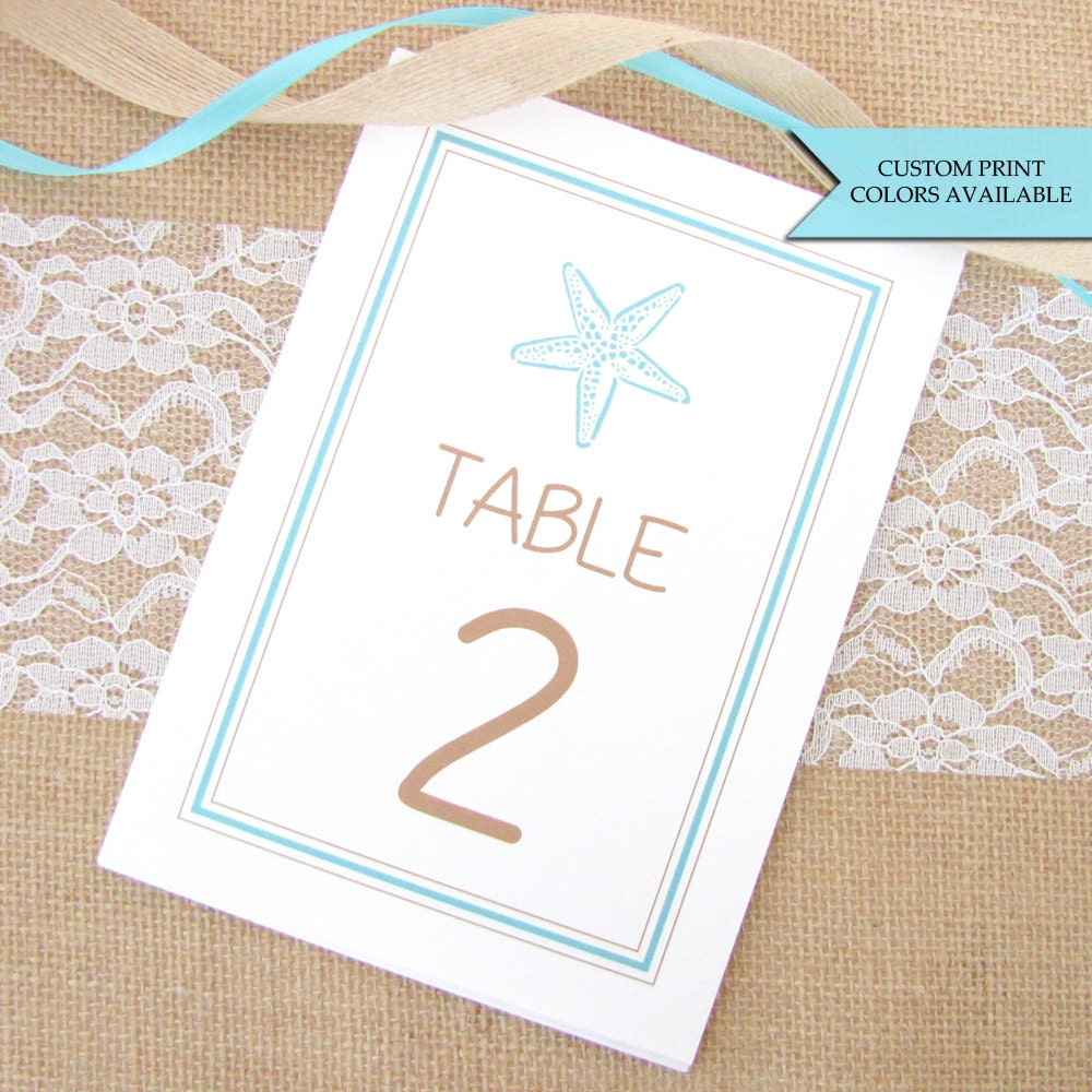 Beach wedding table numbers wedding table numbers starfish for Table numbers