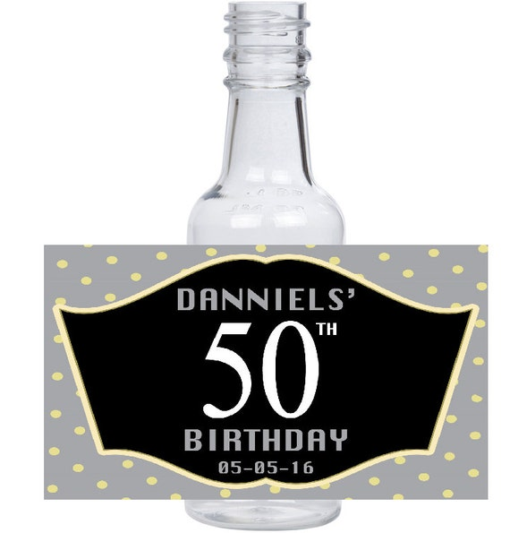 50th Birthday Liquor: 12 Personalized Mini Liquor Bottles Caps And Labels For Your