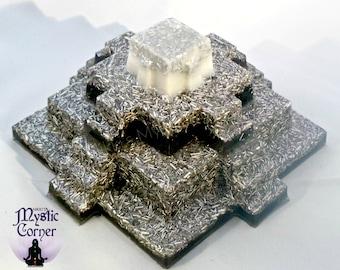 Mayan Orgone Pyramid, Mayan Pyramid, Orgone Pyramid, Resin Pyramid, Black Resin Pyramid, Mayan Metal Pyramid, Orgonite Pyramid, Mayan