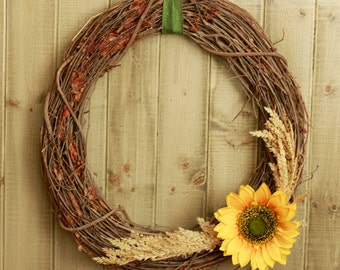 Fall Wreath - Twig Sunflower and Wheat