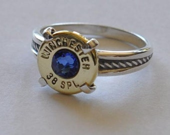 Winchester 38 Special  Pistol  Bullet  Ring Rope Design  Sterling Silver 925  Blue Swarovski Crystal Custom Made in the USA Bullet Jewelry