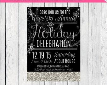 Holiday or Christmas Party Invitation ***Digital File*** (Holiday-Snowflake)