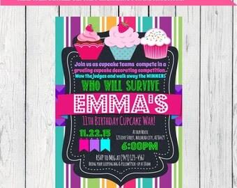 Cupcake War Personalized birthday invitation- Stripes ***Digital File*** (Cupcake-stripes)