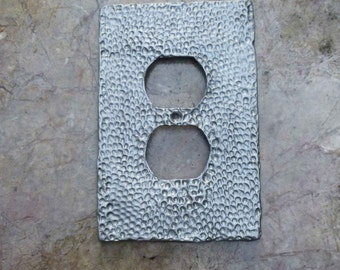 Hammered Metal in Pewter Outlet Cover